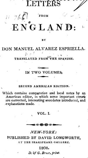 Försättsbladet till Letters From England, 1808