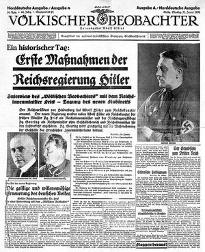 Völkischer Beobachter front page Jan. 31 1933