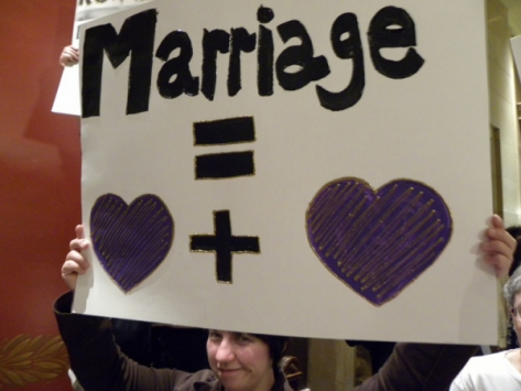 Protest against a constitutional amendment banning same sex marriage
