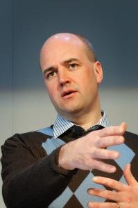 Sveriges statsminister Fredrik Reinfeldt under presskonferens vid globaliseringsmötet i Riksgränsen 2008-04-09
