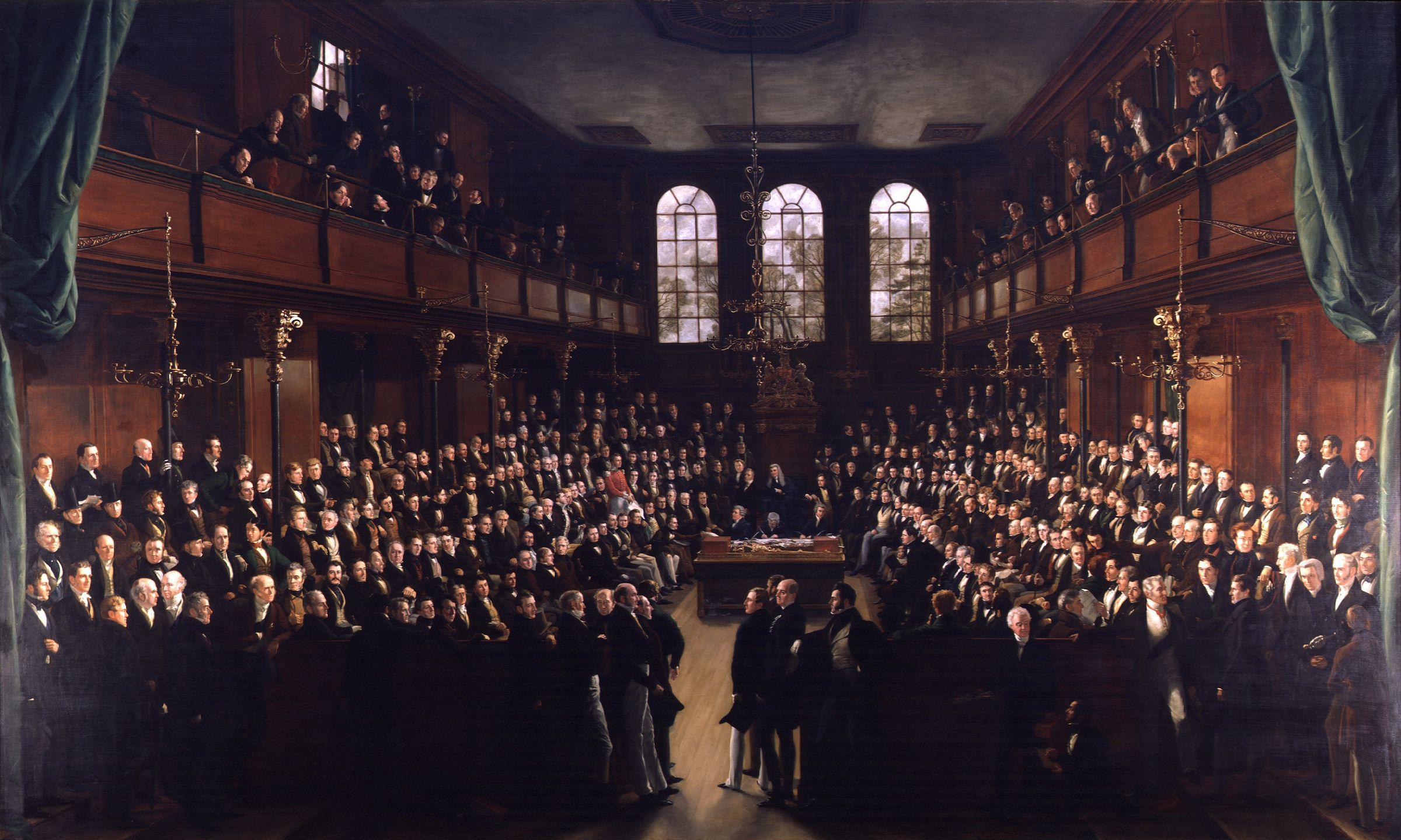 House of Commons i Storbritannien är en representativ form av demokrati. Målning från 1833 av Sir George Hayter