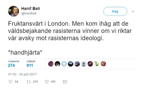 Hanif Bali är ironisk på twitter