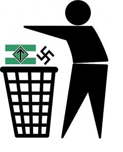 NMR medger själva att deras fana är en nationalsocialistisk hatsymbol