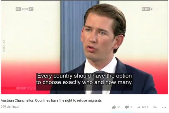 Österrikes förbundskansler uttrycker rasism