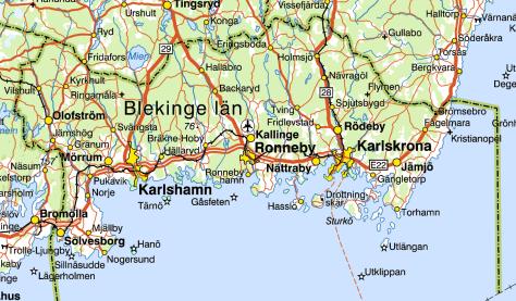 Karta över Blekinge län