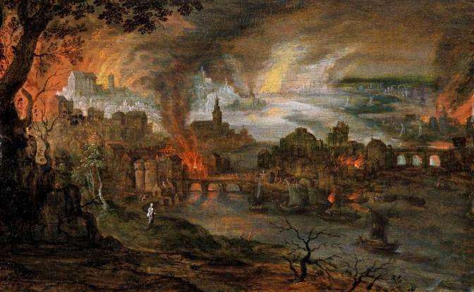 Pieter Schoubroeck - The Destruction of Sodom and Gomorrah, c.1600
