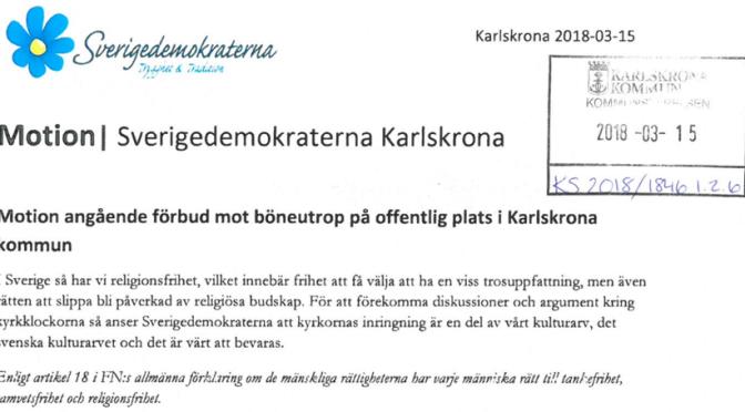SD Karlskrona motionerar om förbud mot böneutrop