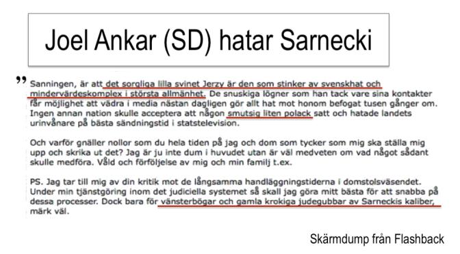 Det antisemitiska hatet mot Jerzy Sarnecki